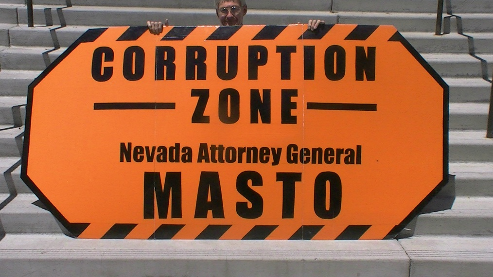 Nevada Attorney General Catherine Cortez Masto and Governor Brian Sandoval protest