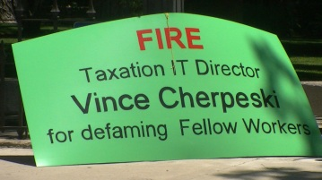 Nevada Attorney General Catherine Cortez Masto and Nevada Department of Taxation protest Vince Cherpeski