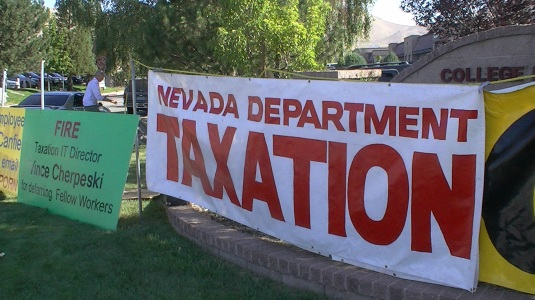 Nevada Attorney General Catherine Cortez Masto and Nevada Department of Taxation protest